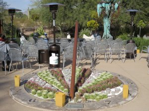 Sundial with cacti