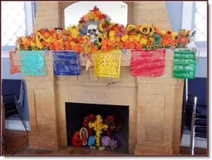 An altar at the Bisbee Woman's Club a few days before Día de los Muertos. Photo by Carol Loy