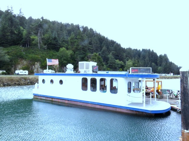 Lunch on a floating restaurant in Winchester Bay.
